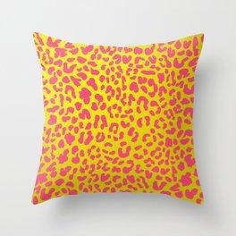 Yellow & Pink Leopard Print Throw Pillow