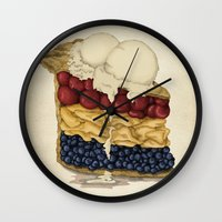 pie Wall Clocks featuring American Pie by Megs stuff...