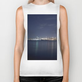 Chicago from Afar at Night Biker Tank
