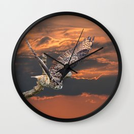 owl at sunset Wall Clock