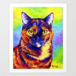 Psychedelic Rainbow Tortoiseshell Cat Art Print