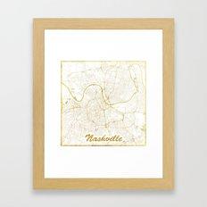 Nashville Map Gold Framed Art Print