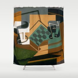 """Juan Gris """"Chessboard, Glass and Dish"""" Shower Curtain"""