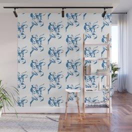 Follow the Herd Pattern - Blue #761 Wall Mural
