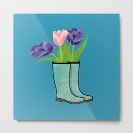 Rain Boots and Purple Tulips With Water Droplet/ Spring Decor Metal Print