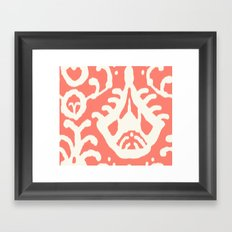 Ikat in coral  Framed Art Print