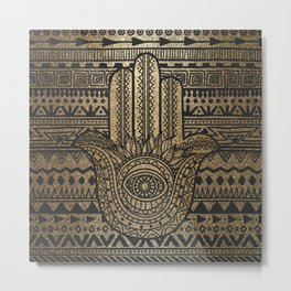 Native Pattern Golden Hamsa Hand Metal Print