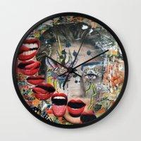 lip Wall Clocks featuring Lip Service by Katy Hirschfeld