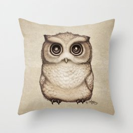 """The Little Owl"" by Amber Marine ~ Graphite & Ink Illustration, (Copyright 2016) Throw Pillow"
