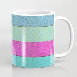 Fuchsia Turquoise Blue Snowflake Stripes Coffee Mug