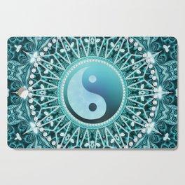 Tranquility Yin Yang Blue Aqua Mandala Cutting Board