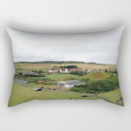 Life on the village green at the seaside town of Bamburgh in Northumberland, England. Rectangular Pillow
