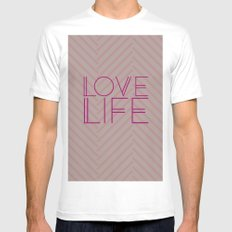 LOVE LIFE White Mens Fitted Tee MEDIUM