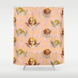 Space Angel (peach) Shower Curtain
