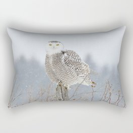 Snow falling on Miss Snowy Rectangular Pillow