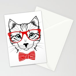 Hipster Cat with Red Glasses Stationery Cards