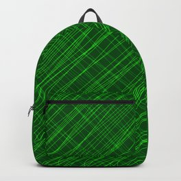 Cross ornament of their green threads and iridescent intersecting fibers. Backpack