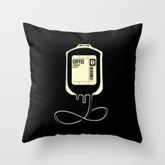 Coffee Transfusion - Black Throw Pillow