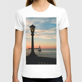 Colonia Vibes. Beautiful sunset scene with a boat in Colonia del Sacramento, Uruguay T-shirt