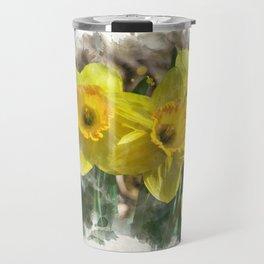 Watercolor Daffodils Travel Mug