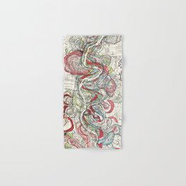 Beautiful Vintage Map of the Mississippi River Hand & Bath Towel