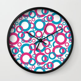 Blue Green, Pink, White Geometric Ring Pattern 2021 Color of the Year AI Aqua 098-59-30 Wall Clock