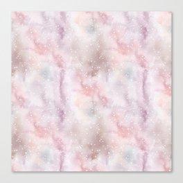 Mauve pink lilac white watercolor paint splatters Canvas Print