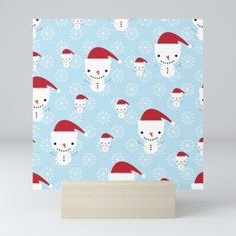 Snowmen and snowflakes Mini Art Print