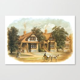 Vintage Victorian Houses illustration, Horse Carriage, Two People with Tennis Rackets Canvas Print