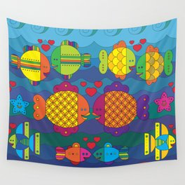 Stylize fantasy color fishes under sea water in love Wall Tapestry