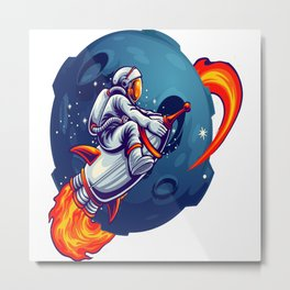 Space Astronaut Metal Print