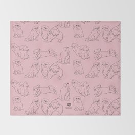 English Rose Pink & Dark Taupe Minimalist Outline Tibetan Spaniel Pattern Throw Blanket