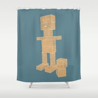 robot Shower Curtains featuring Robot by lightsome