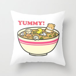 Yummy! Pet Bowl Throw Pillow