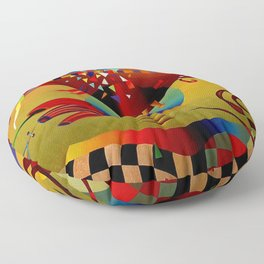 Red green transcendental abstraction Floor Pillow
