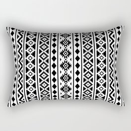 Aztec Essence Pattern II Black on White Rectangular Pillow