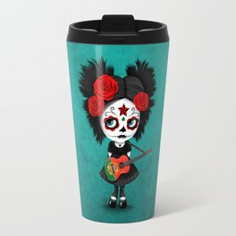 Day of the Dead Girl Playing Portuguese Flag Guitar Travel Mug