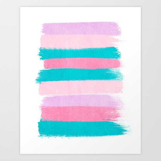 Stripes turquoise pink bright pink pastels beach spring summer trendy color palettes Art Print