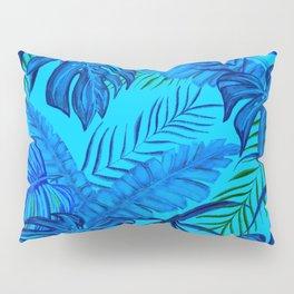 Tropical Leaves Jungle Print Blue Tones Pillow Sham