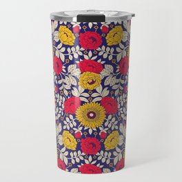 Vibrant Red, Yellow, Blue & White Modern Floral Pattern Travel Mug