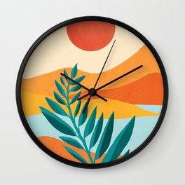 Mountain Sunset / Abstract Landscape Illustration Wall Clock
