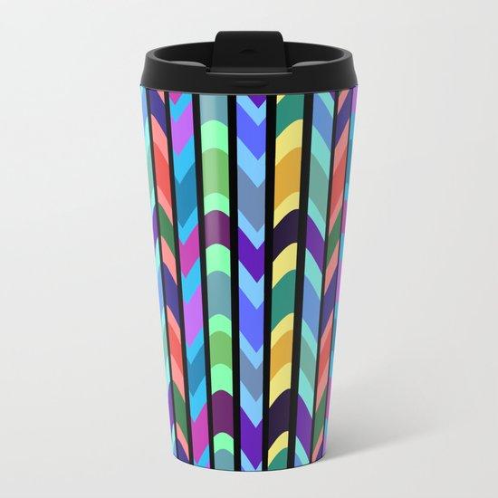 Waves and stripes Metal Travel Mug
