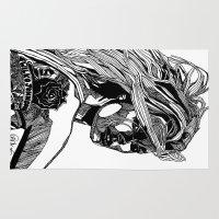 allyson johnson Area & Throw Rugs featuring B&W Fashion Illustration - Wilko Johnson by Paul Nelson-Esch Art