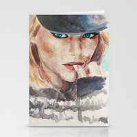 emma stone Stationery Cards featuring Emma Stone, blonde by xDontStopMeNow