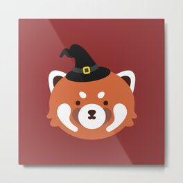 Red Panda in a Witch Hat Metal Print