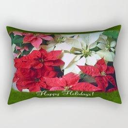 Mixed color Poinsettias 1 Happy Holidays P1F1 Rectangular Pillow
