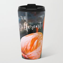 """Dare to be Different"" Quote Cute, Chic, Orange Pink Flamingo Photo Travel Mug"