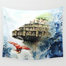 """The castle in the sky"" Wall Tapestry"