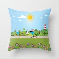 denmark Throw Pillows featuring Landscape of Denmark by Design4u Studio