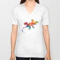 chameleon V-neck T-shirts featuring Chameleon by General Design Studio